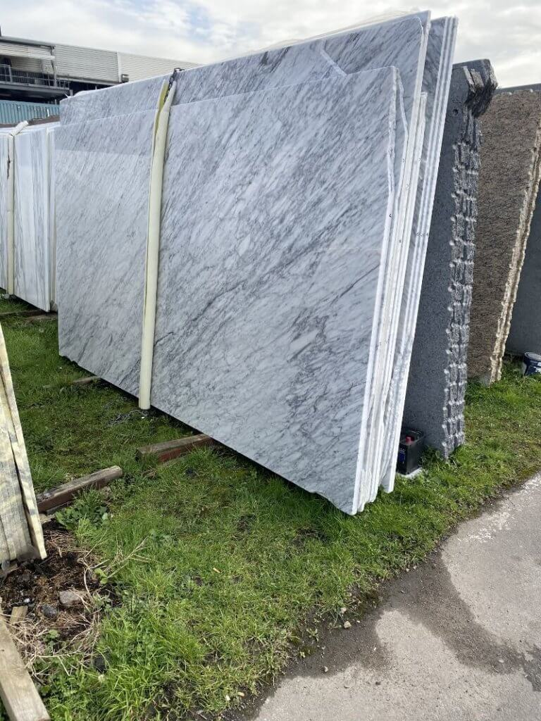 Carrara Marble slabs in our London location