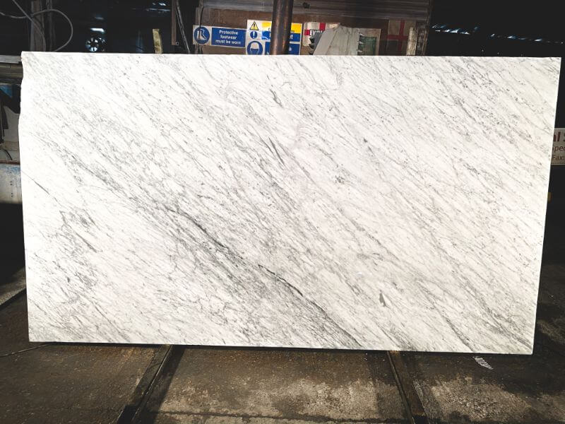 Carrara marble slabs in our London warehouse