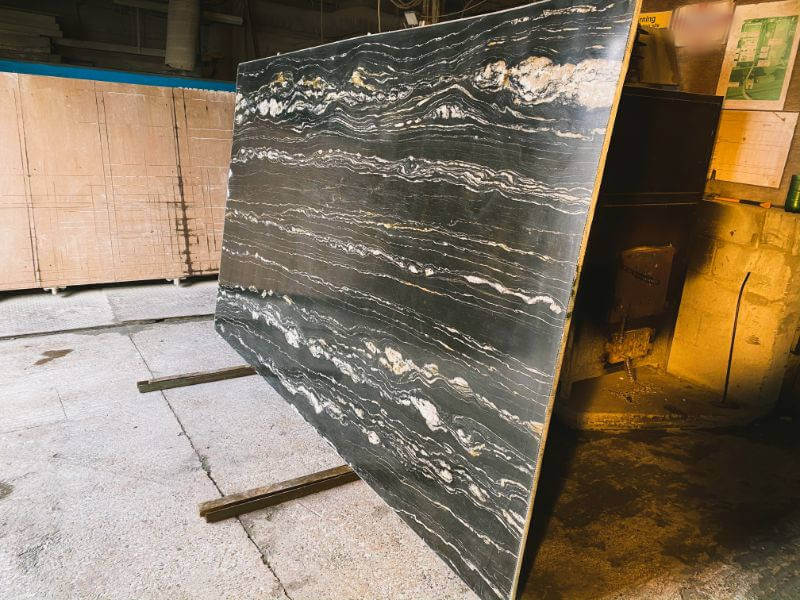Portoro Quartzite slabs as available to buy from our London premises