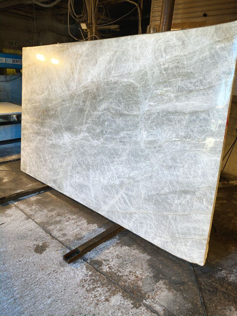Taj Mahal Quartzite slabs displayed in our London premises