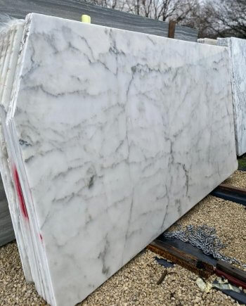 Calacatta Caldia Marble Slabs as displayed in our yard in London